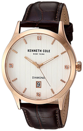 Kenneth Cole Diamond Sølvfarvet/Læder Ø42 mm 10030783