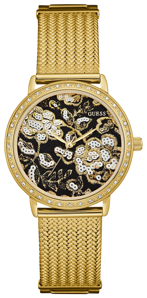 Guess Dress Dameur W0822L2 Flerfarvet/Gul guldtonet stål Ø36 mm