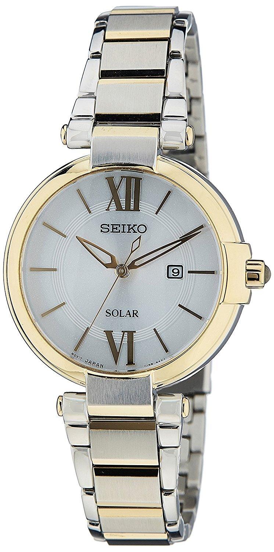 Seiko Solar Dameur SUT154P1 Sølvfarvet/Gul guldtonet stål Ø32 mm
